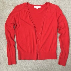 LOFT red cotton sweater cardigan